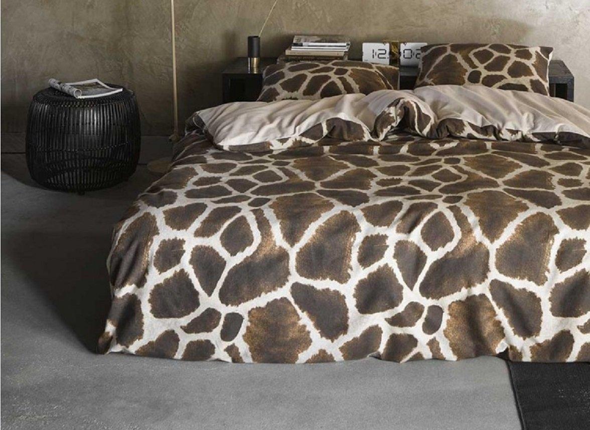 Essenza Home dekbedovertrek flanel Giraffe bruin