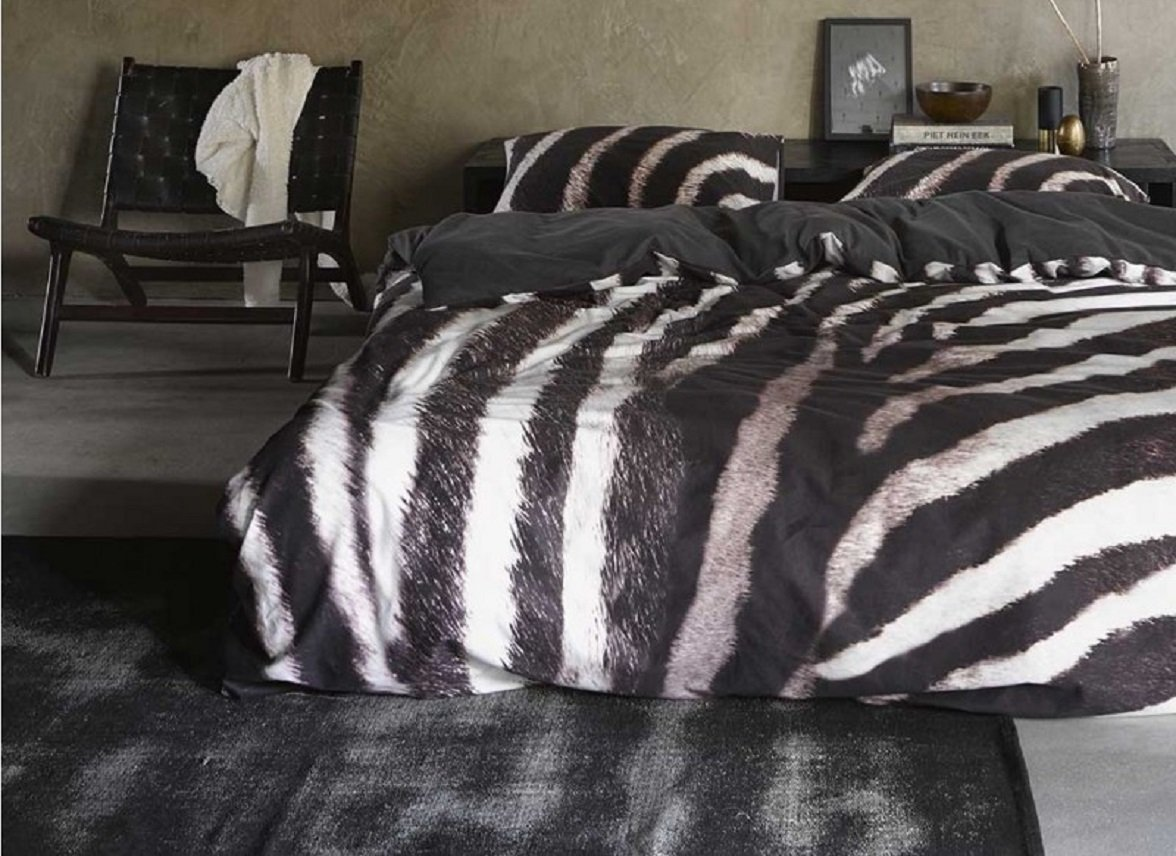 Essenza Home dekbedovertrek flanel Zebra antraciet