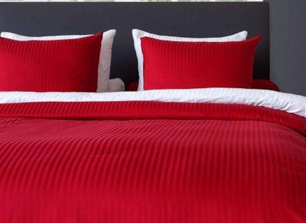 Heckett Lane dekbedovertrek Satijn-Streep aurora red