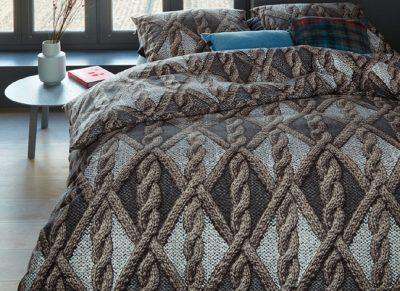 Beddinghouse dekbedovertrek flanel Aran Knit grey