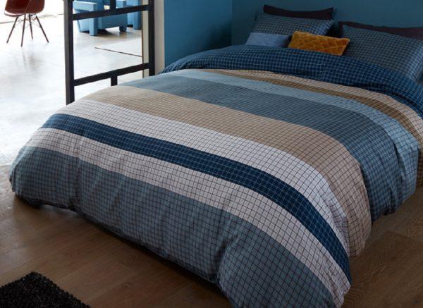 Beddinghouse dekbedovertrek Grid Stripe blue