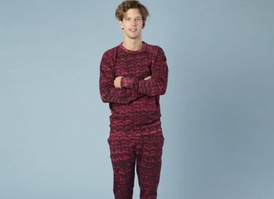 Snurk Homewear Twirre burgundy red broek heren