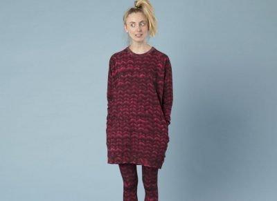 Snurk Homewear Twirre burgundy red sweater dress dames