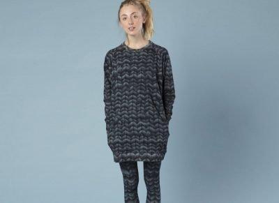 Snurk Homewear Twirre steel grey sweater dress dames