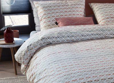 Beddinghouse dekbedovertrek Woven Lines pink