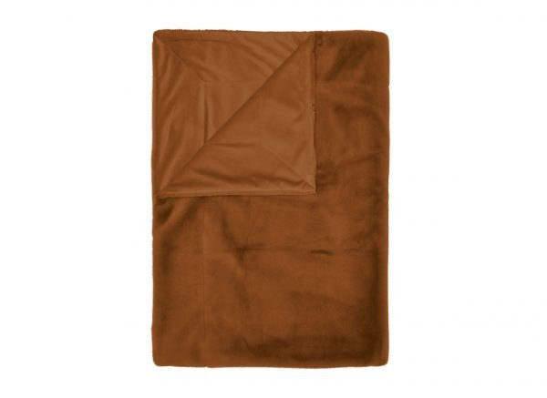 Essenza Home plaid Furry leather brown