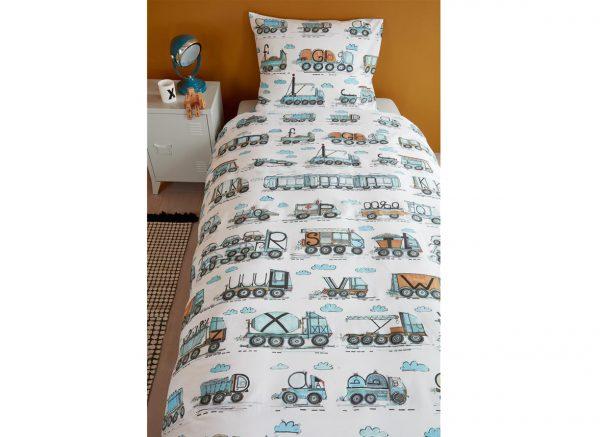 Beddinghouse dekbedovertrek Letter Car blauw