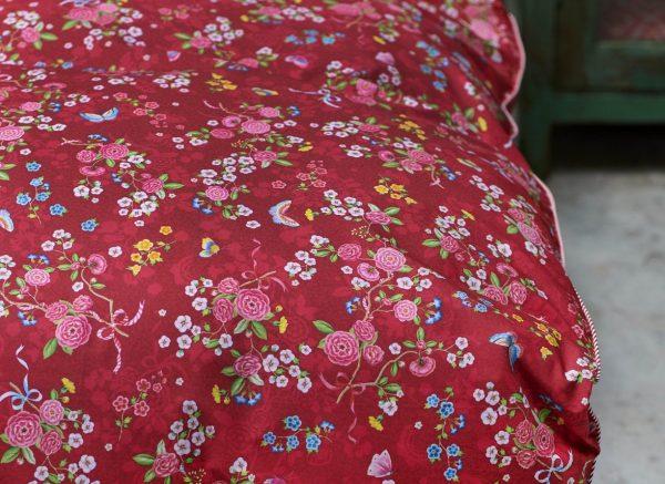 Pip Studio dekbedovertrek Chinese Rose Bouquet red