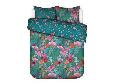 Covers & Co dekbedovertrek Flower Power petrol