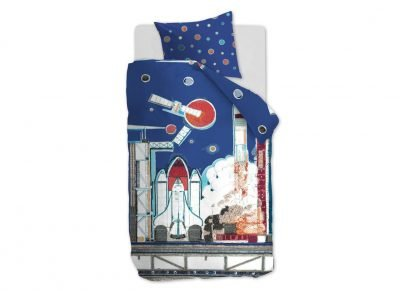 Beddinghouse dekbedovertrek Rocket Ship blue