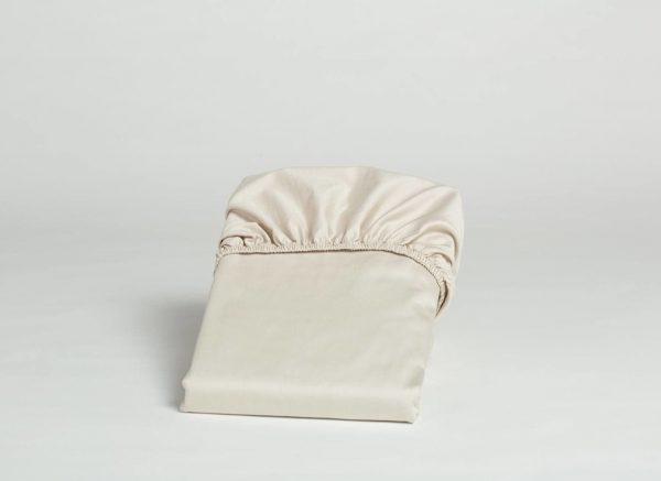 Yumeko hoeslaken katoen satijn sandy grey