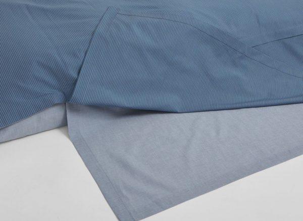 Yumeko dekbedovertrek katoen Tencel double face blue stripe / blue chambray