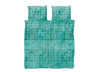 Snurk dekbedovertrek Tiles emerald green