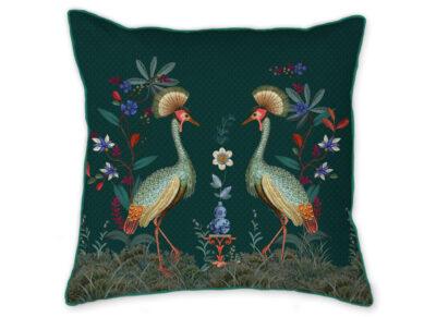 Pip Studio sierkussen Birds in a Row green 53x53